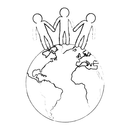world planet with people vector illustration design Çizim