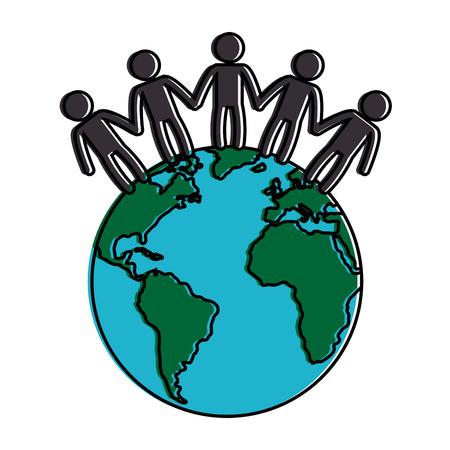 world planet with people vector illustration design Illusztráció