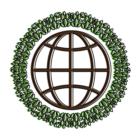 planet with wreath leafs vector illustration design Illusztráció