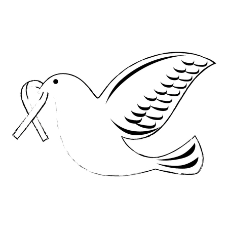 dove of peace flying with ribbon vector illustration design Stock fotó - 87231950