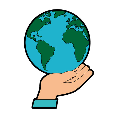 hand human protection with world planet vector illustration design