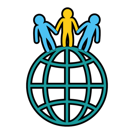 벡터 일러스트 레이 션 디자인 사람들과 세계 행성