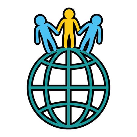 flat earth: world planet with people vector illustration design Illustration