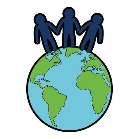 Welt Planeten mit Menschen Vektor-Illustration Design Standard-Bild - 87231980
