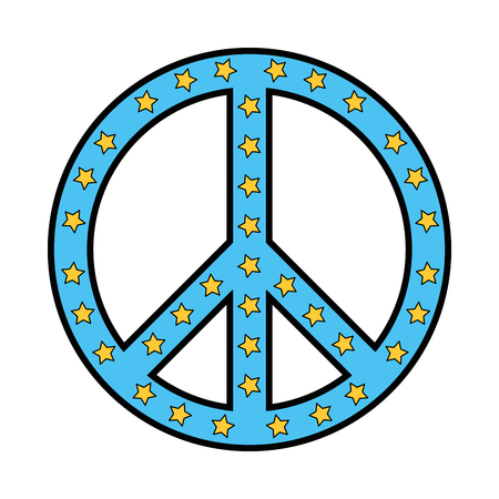 peace symbol with stars vector illustration design