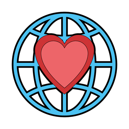 planet with heart icon vector illustration design