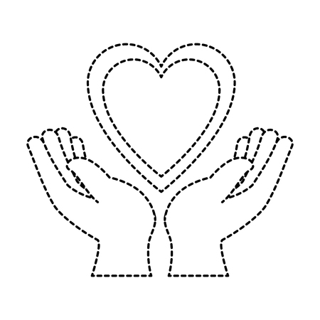 hands human protection with heart vector illustration design 向量圖像