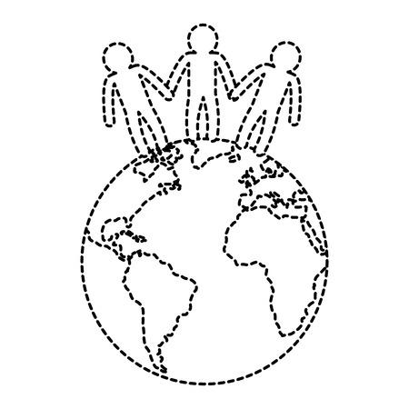 world planet with people vector illustration design Ilustração