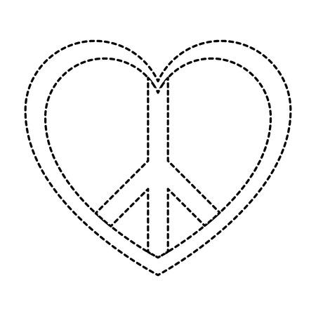 peace symbol with heart vector illustration design Illustration