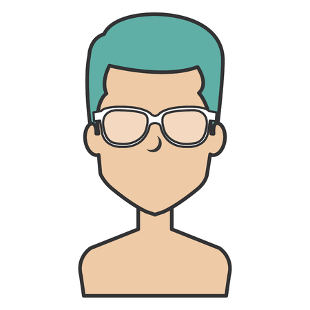 young man shirtless with glasses avatar character vector illustration design Stock Vector - 87232103