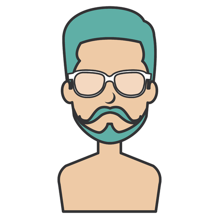 young man shirtless with glasses avatar character vector illustration design