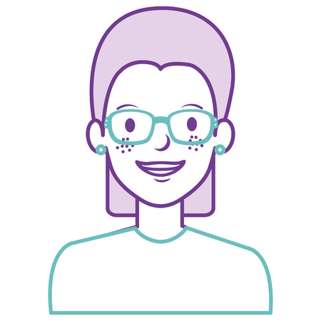 beautiful woman with glasses avatar character vector illustration design Illustration