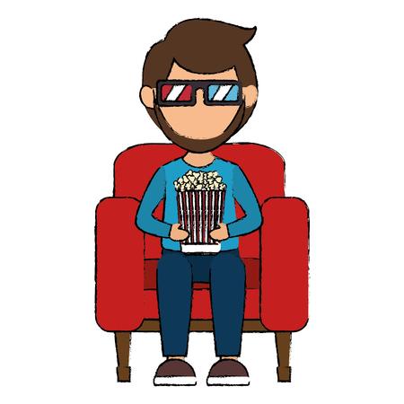man in cinema 3d chair vector illustration design