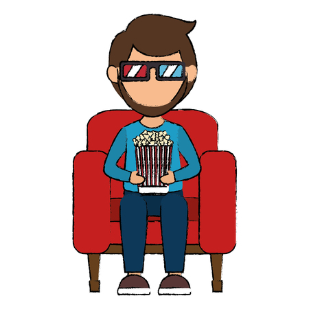 man in cinema 3d chair vector illustration design