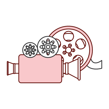 cinema video camera with reel vector illustration design