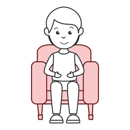 man in cinema chair vector illustration design