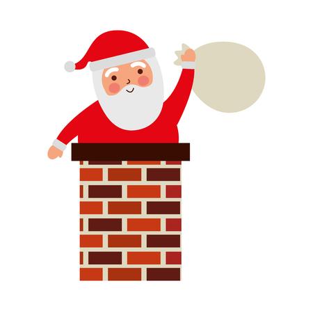 メリー クリスマス袋と煙突のサンタ クロースおもちゃベクター イラスト カード プレゼント  イラスト・ベクター素材