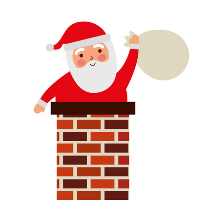 merry christmas santa claus in the chimney with bag toys gift card vector illustration Illustration