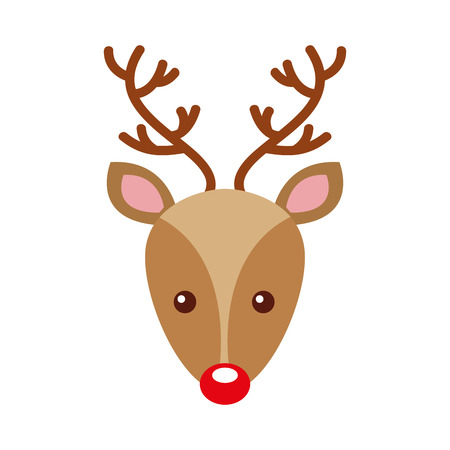 christmas reindeer head horned animal decoration vector illustration