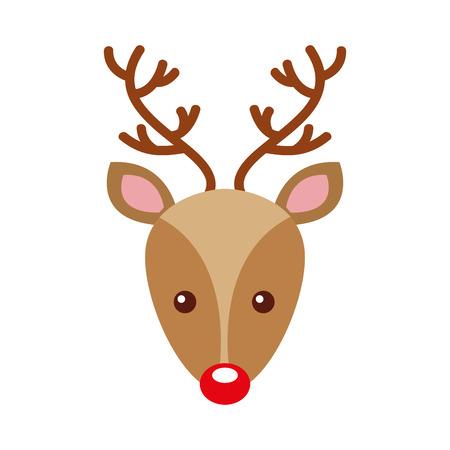 cabeza de Reno de Navidad ilustración de vector de decoración de animales con cuernos