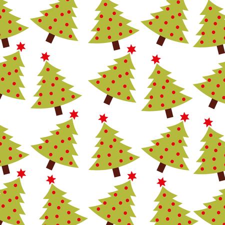 christmas green tree pine decoration celebration seamless pattern vector illustration