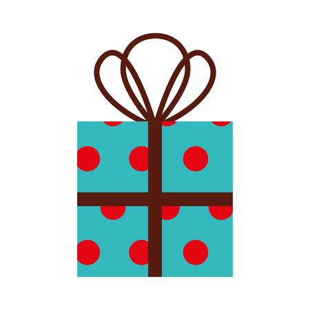 christmas gift box wrappied ribbon celebration decoration vector illustration Ilustrace