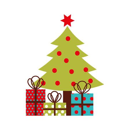 Weihnachtsbaum Kiefer Dekoration Feier Party Vektor-Illustration Standard-Bild - 87292724