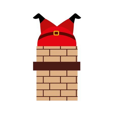 santa claus stuck in the chimney on the roof christmas vector illustration Banco de Imagens - 87292729