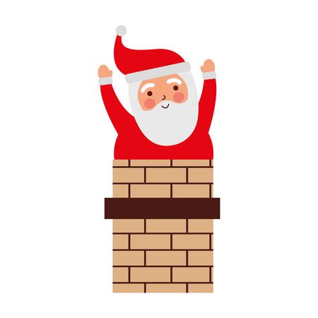Navidad Papá Noel en la ilustración de vector de tarjeta de chimenea Foto de archivo - 87292731