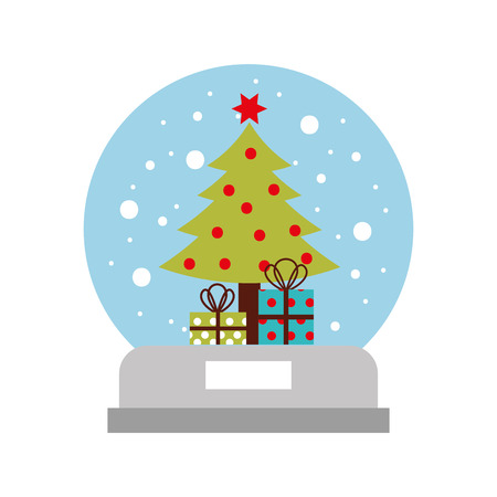 snow globe and christmas fir tree decorated with star balls and gifts box vector illustration