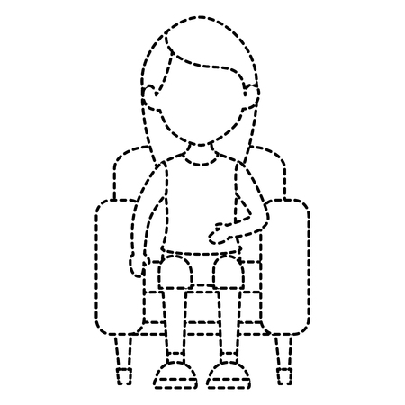 woman in cinema chair vector illustration design