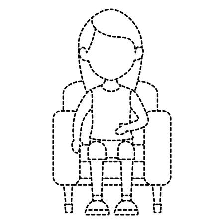 woman in cinema chair vector illustration design