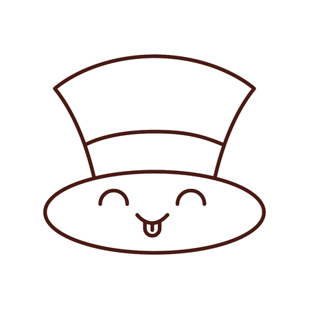 kawaii christmas top hat of snowman accessory vector illustration
