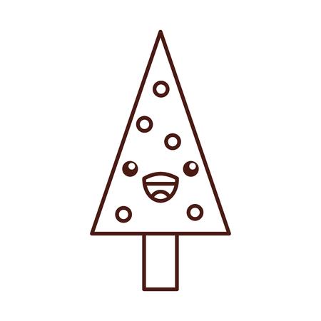 kawaii christmas tree pine decoration celebration party vector illustration Ilustração