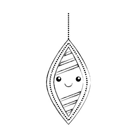kawaii christmas ball hanging decoration ornament vector illustration