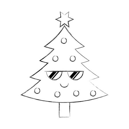 kawaii christmas tree pine decoration celebration party vector illustration Illustration