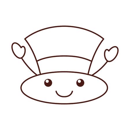 kawaii christmas top hat of snowman accessory vector illustration