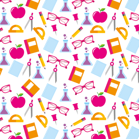 school accessories supply and element seamless pattern image vector illustration