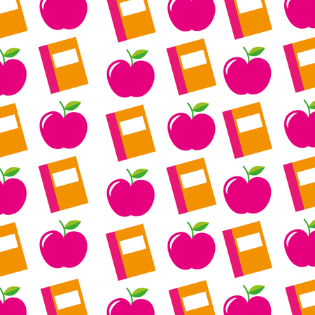 teacher day book and apple decoration seamless pattern image vector illustration