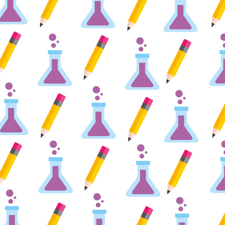 school teacher day test tube and pencil seamless pattern image vector illustration Çizim