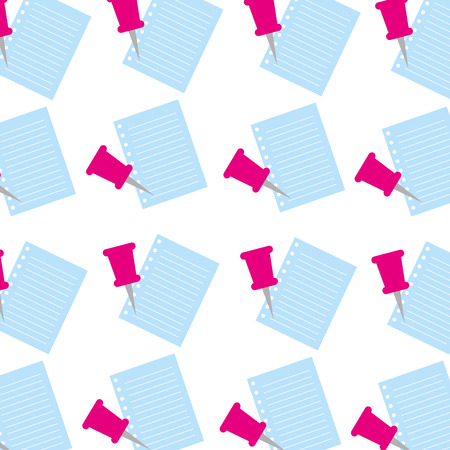 学校新聞とプッシュ ピン メモのシームレスなパターン ベクトル図  イラスト・ベクター素材