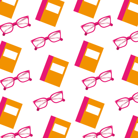 school book and glasses object seamless pattern image vector illustration