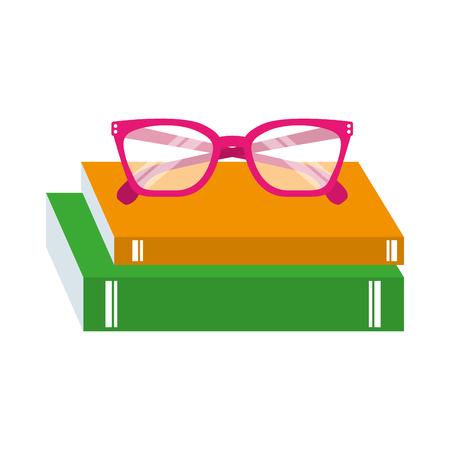 teacher day school book and glasses celebration vector illustration