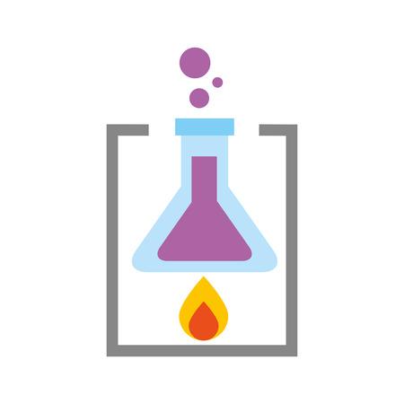 school laboratory test tube flame burning experiment vector illustration