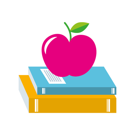 school books and apple study learn concept vector illustration Ilustrace