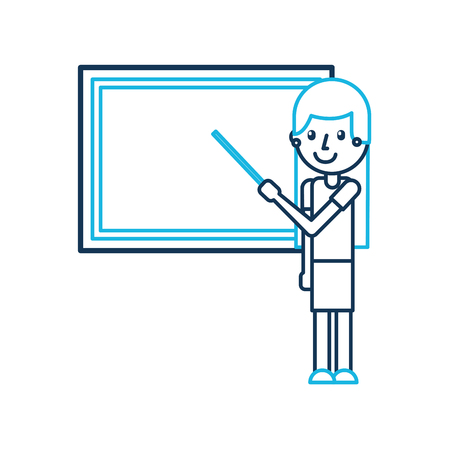 cartoon teacher with pointer standing in front of blackboard vector illustration