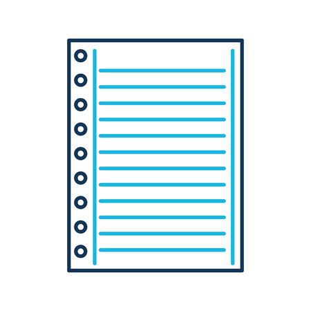 lined paper note page blank school vector illustration