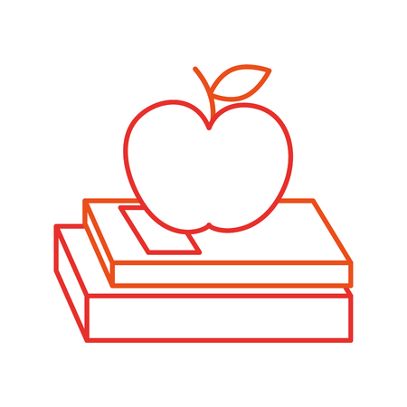 school books and apple study learn concept vector illustration Stock Photo
