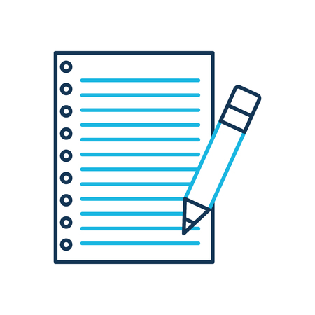 school paper and pencil utensil study vector illustration