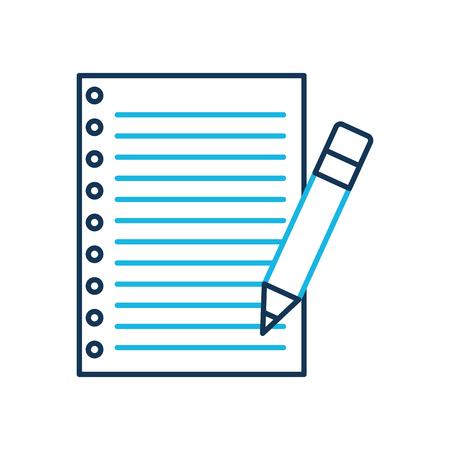 Carta di scuola e matita utensile illustrazione vettoriale Archivio Fotografico - 87293039